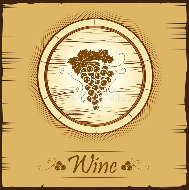 Bos van druiven voor etiketten van wijn vector illustratie