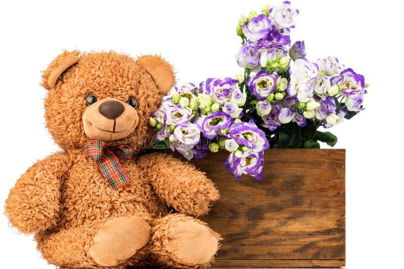 Bos van eustomabloemen en een teddybeer stock afbeelding