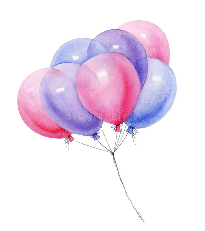 Bos van kleurrijke ballons stock afbeeldingen