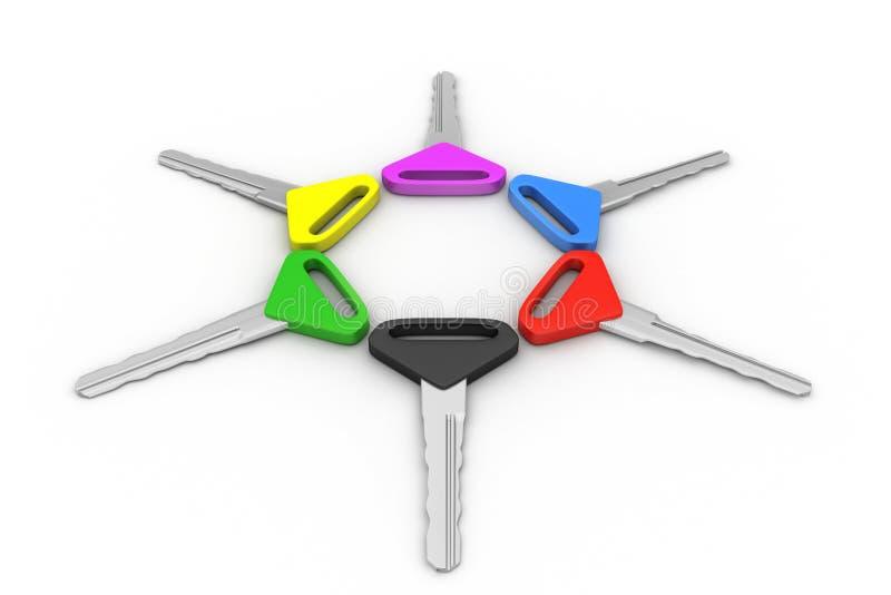 Bos van multi-coloured sleutels stock illustratie
