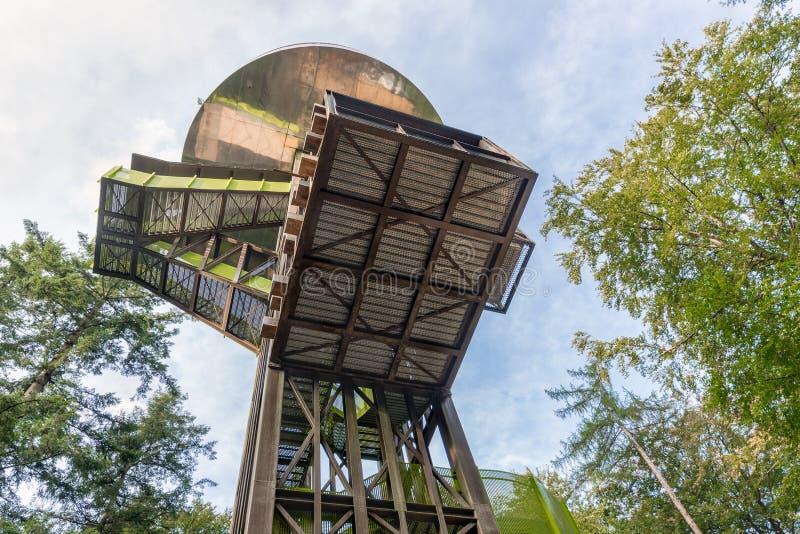 Bos van Nederlands nationaal park Veluwe met watch-tower stock afbeelding