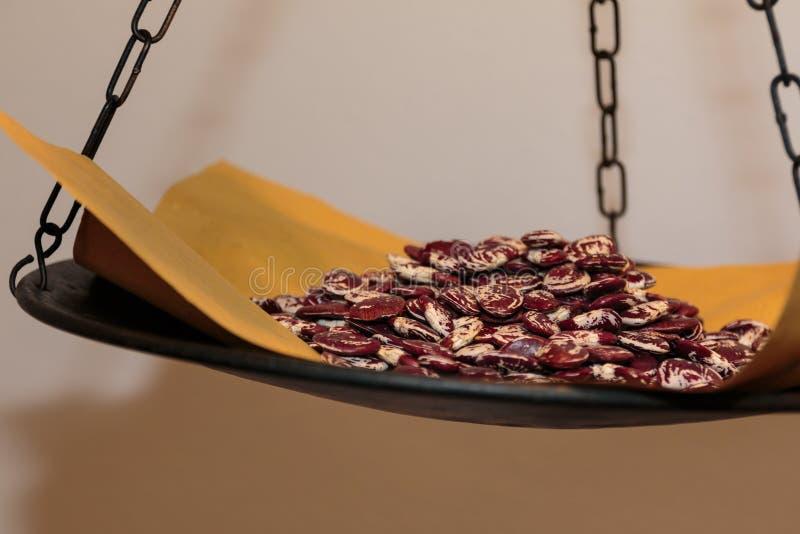 Bos van Pinto Beans op Zwarte Schaal royalty-vrije stock foto's