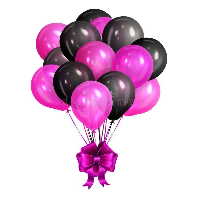 Bos van realistische zwarte en roze heliumballons stock illustratie