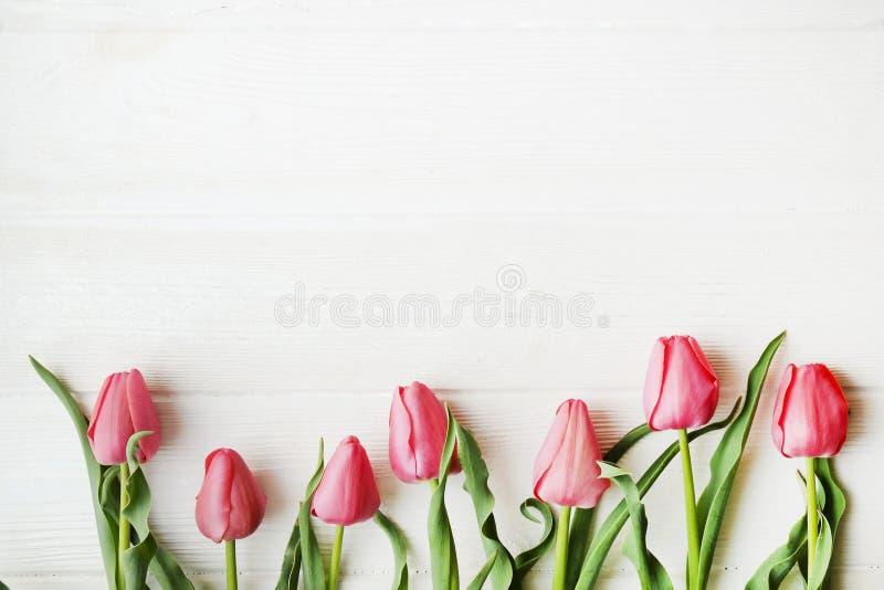 Bos van roze tulp in de mooie samenstelling die van de de lentevakantie op witte houten geweven lijstachtergrond liggen Moeder` s stock foto