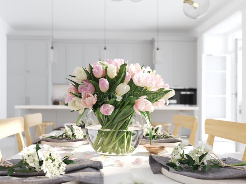 Bos van tulpen in een noordse stijlflat het 3d teruggeven royalty-vrije stock foto's