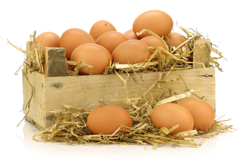Bos van verse bruine eieren stock fotografie