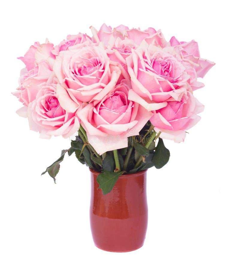 Bos van verse roze rozen stock afbeelding