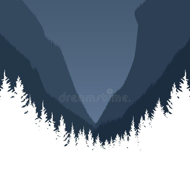 Bos vectorlandschap als achtergrond met silhouetten van bomen en bergen Exploratie, avonturenconcept in aard royalty-vrije illustratie