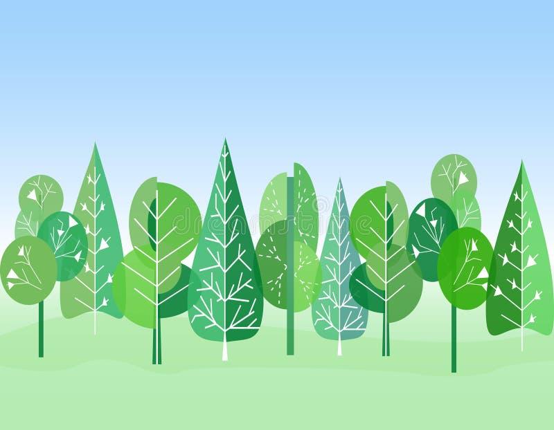 Bos vlakke Achtergrond Kinderen` s tekening Eenvoudig en leuk landschap voor uw ontwerp stock illustratie