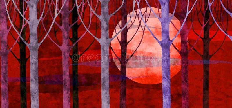 Bos zonsondergang stock illustratie