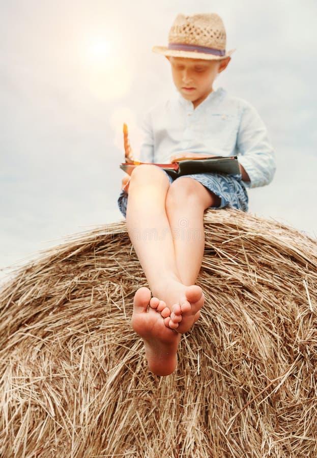 Bosa chłopiec czyta książkę siedzi na wierzchołku haystack zdjęcia stock