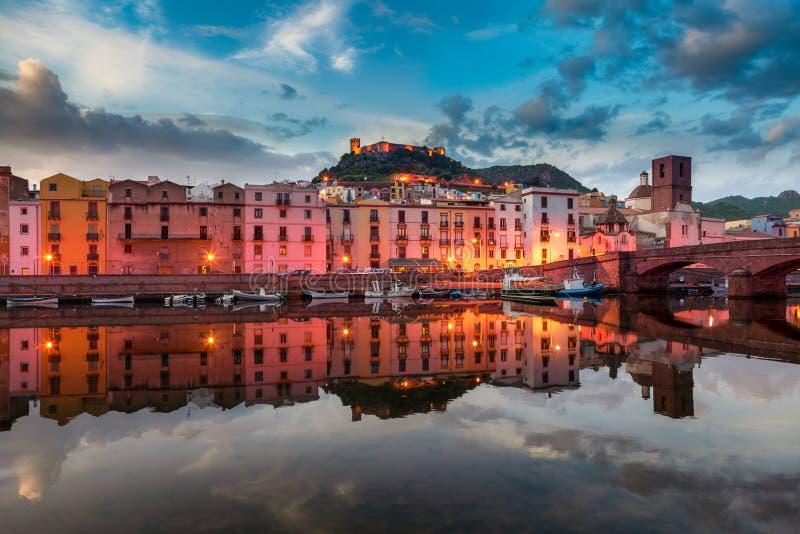 Bosa by evening light. Sardinia stock images