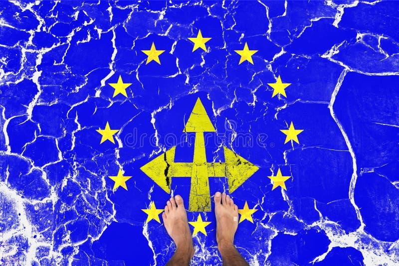 Bosa mężczyzna pozycja na krakingowej eu flaga royalty ilustracja