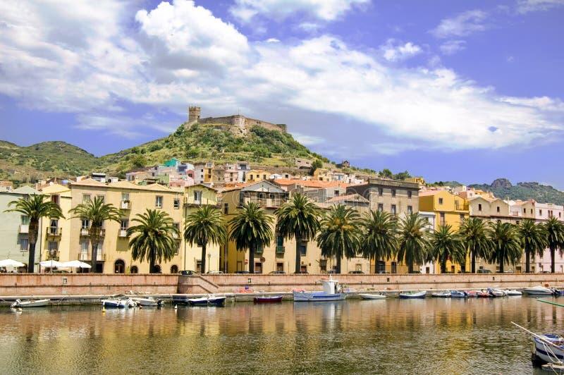 Bosa Stadt Sardinien stockbild
