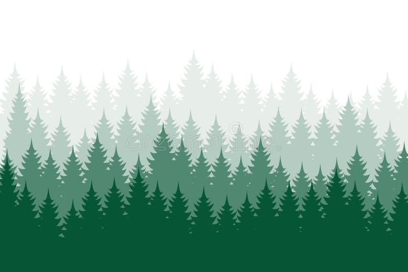 Bosachtergrond, aard, landschap Altijdgroene naaldbomen Pijnboom, sparren, Kerstmisboom Silhouetvector royalty-vrije illustratie