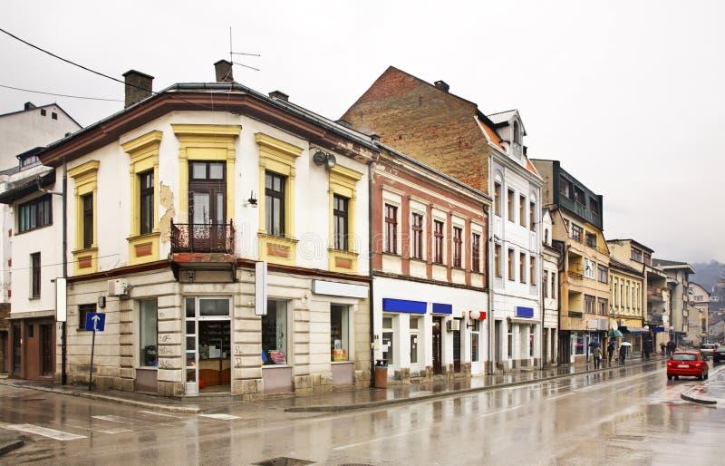 Bosanska gata i Travnik stämma överens områdesområden som Bosnien gemet färgade greyed herzegovina inkluderar viktigt, planera ut arkivbilder
