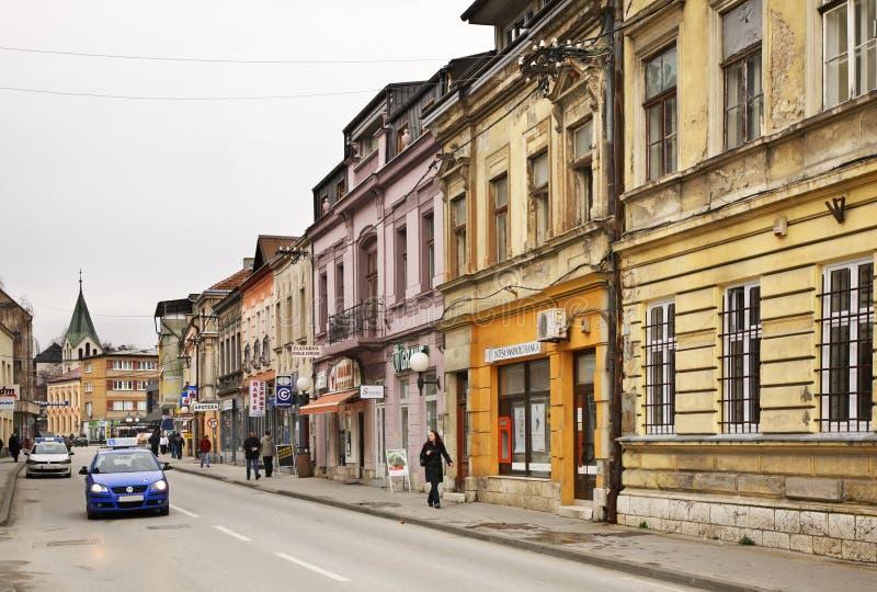 Bosanska gata i Travnik stämma överens områdesområden som Bosnien gemet färgade greyed herzegovina inkluderar viktigt, planera ut arkivbild