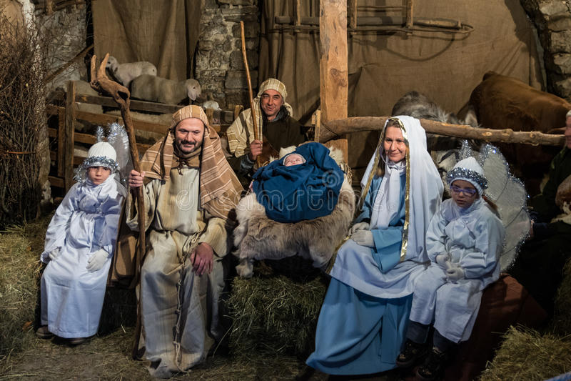 Bosatt Kristi födelse i Canale di Tenno, Italien arkivfoto