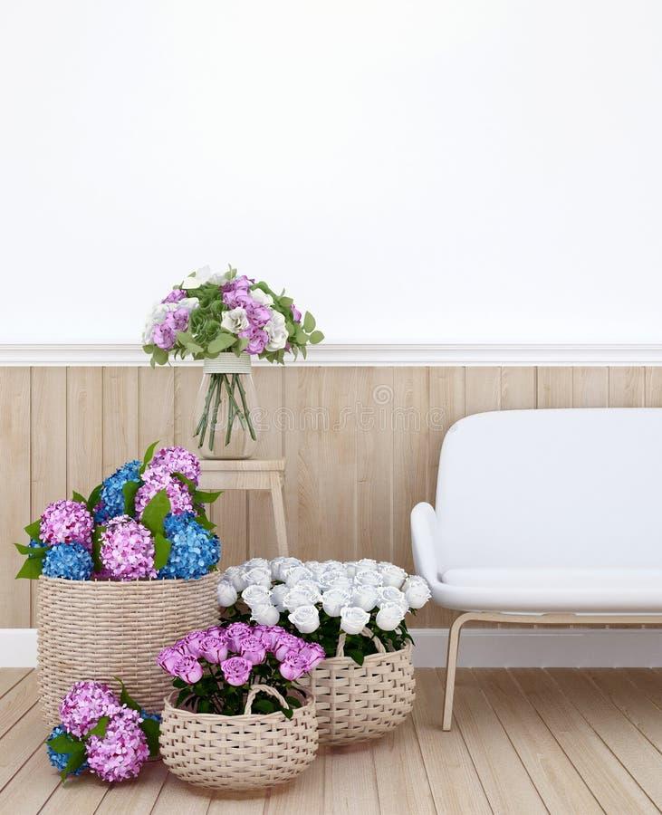 Bosatt område och färgrik blomma i lägenhet eller hemmiljödesignen för äta middag område - tolkning 3D stock illustrationer