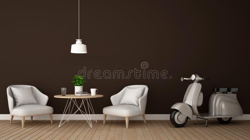 Bosatt område och motorcykel i coffee shop eller restaurangen - tolkning 3D stock illustrationer