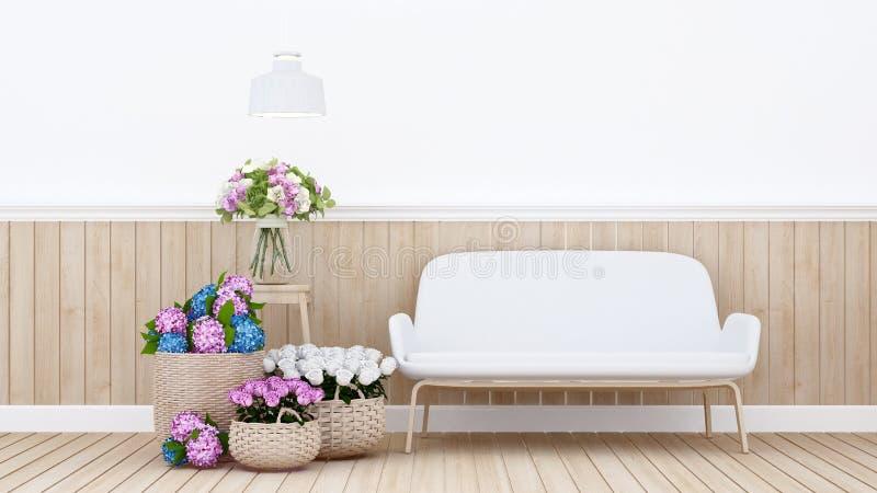 Bosatt omr?de och f?rgrik blomma i l?genhet eller hemmilj?designen f?r ?ta middag omr?de - tolkning 3D vektor illustrationer