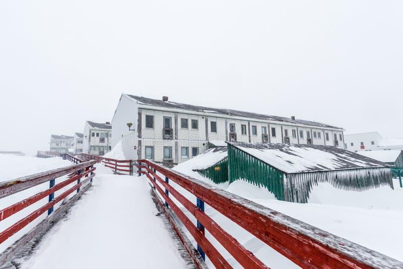 Bosatta kvarter för vit inuit, på gatan efter tungt snöfall Nu royaltyfri fotografi