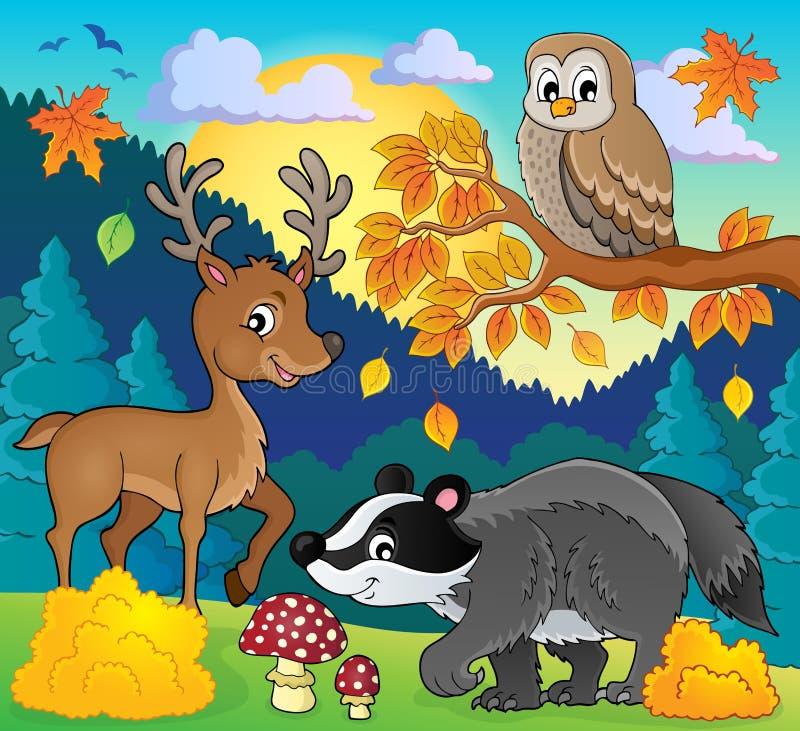 Bosbeeld 3 van het het wildthema stock illustratie