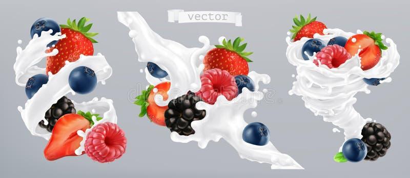 Bosbes en melkplons Fruit en yoghurt 3d vectorpictogram stock illustratie