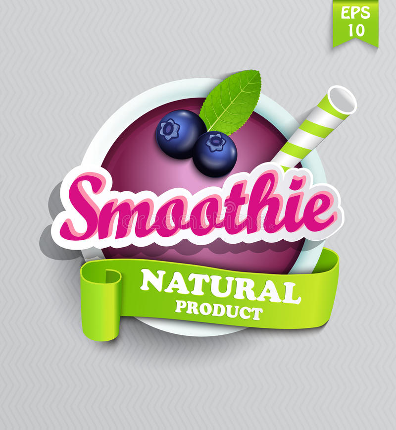 Bosbes smoothie sticer stock illustratie