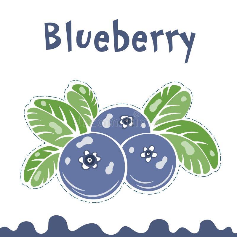 Bosbessen vectorillustratie, bessenbeelden De vectorillustratie van de krabbelbosbes in violette blauwe en groene kleur vector illustratie