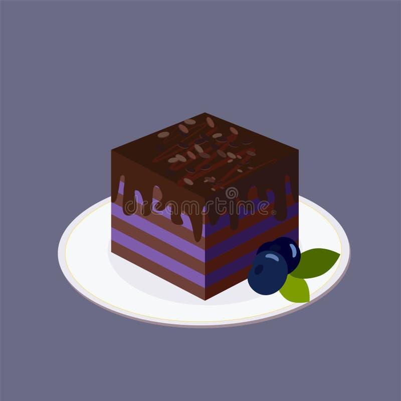 Bosbessencake met lagen van donker koekje, die met chocolade worden bedekt Het bevindt zich op een witte ronde plaat Rijpe grote  vector illustratie