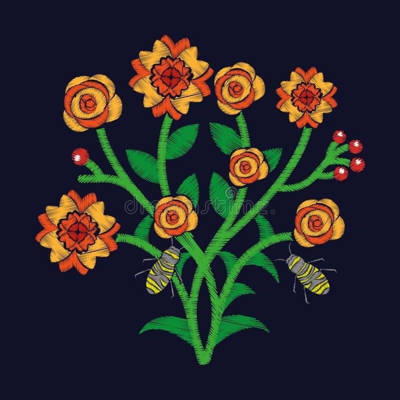 Bosbloemen en bijen die textiel het ontwerp donkere achtergrond vliegen van de borduurwerkmodetrend vector illustratie