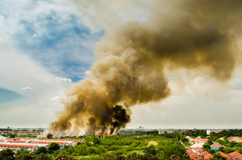 Bosbranden in de stad op een hete overbevoorrading Brandbestrijder geholpen verhaasten die brand te verhinderen aan het dorp word royalty-vrije stock afbeeldingen
