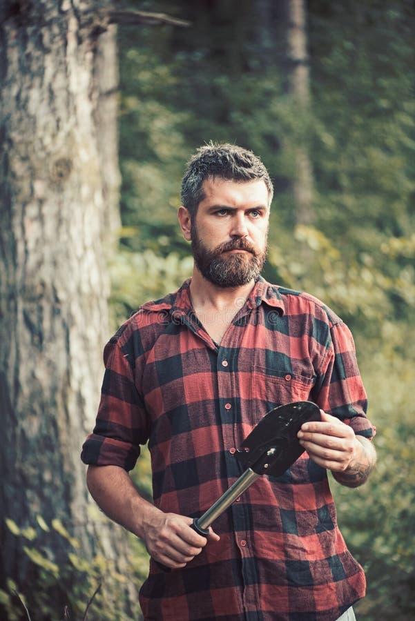 Boscaiolo brutale in legno Tipo barbuto che tiene piccola vanga in sue mani Giovane scienziato che effettua ricerca in regione se fotografie stock