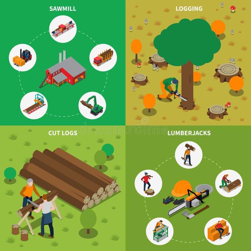 Boscaiolo Isometric Composition del mulino del legname della segheria royalty illustrazione gratis