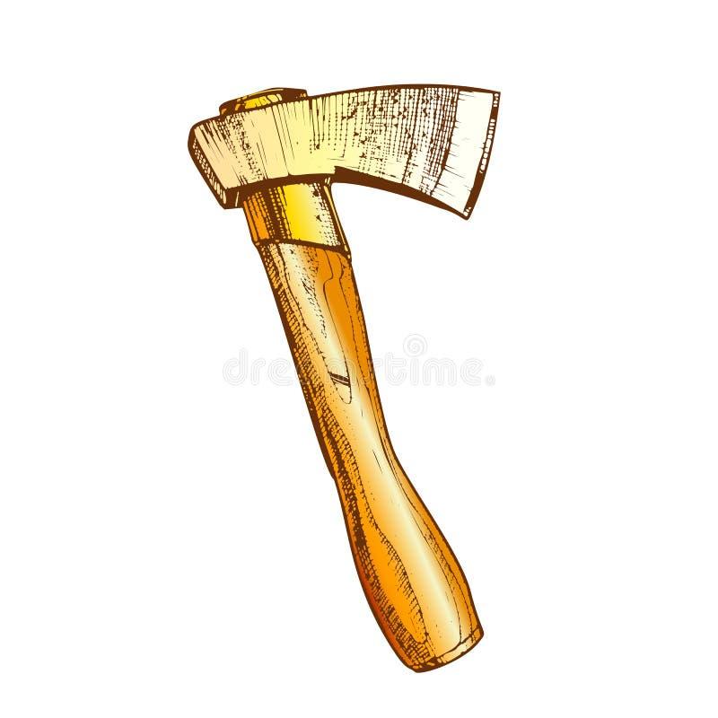 Boscaiolo tagliente di legno Instrument Ax Vector di colore illustrazione di stock