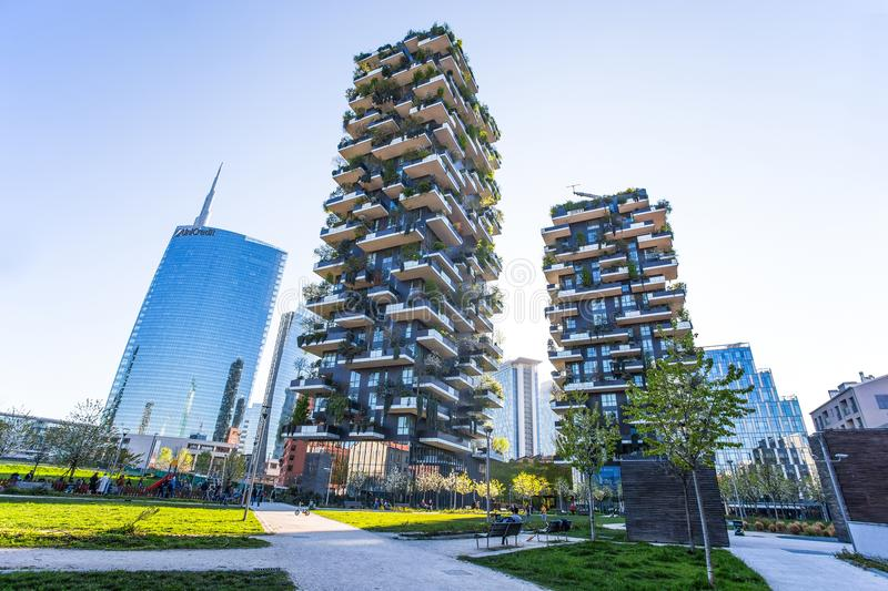 `Bosco Verticale`, vertical forest apartment and buildings and Unicredit Tower in the area `Isola` of the city of Milan, Italy stock photo