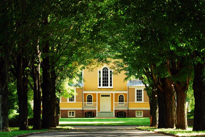 Boscobel Mansion, New York. A tree line drive leads guests to historic Boscobel, a Colonial home on the Hudson River stock photo