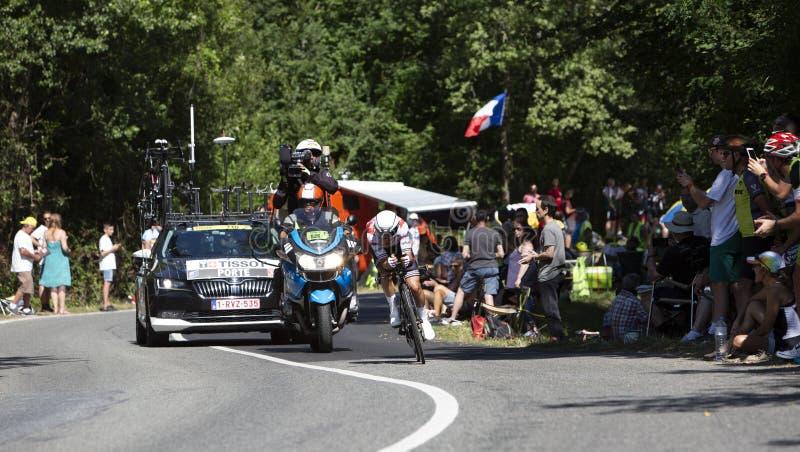 The Cyclist Richie Porte - Tour de France 2019. Bosdarros, France - July 19, 2019: The Australian cyclist Richie Porte of Team Trek-Segafredo riding during stage royalty free stock image