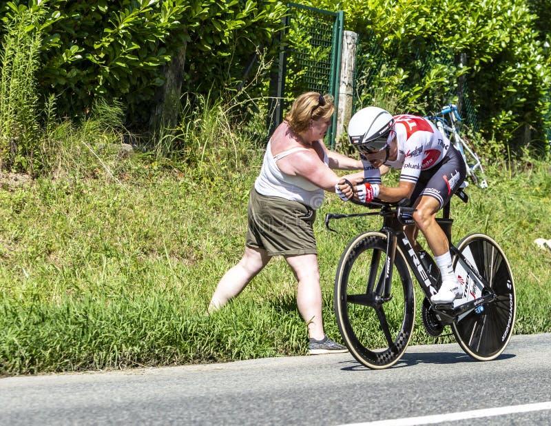 The Cyclist Richie Porte - Tour de France 2019. Bosdarros, France - July 19, 2019: The Australian cyclist Richie Porte of Team Trek-Segafredo riding during stage stock photos