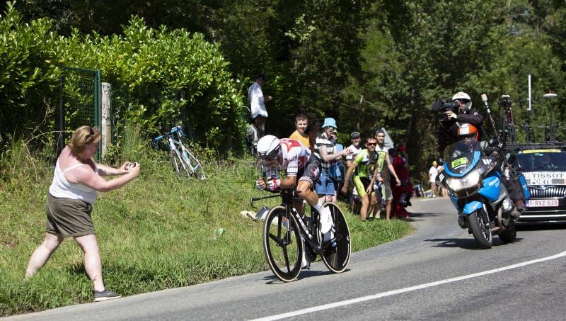 The Cyclist Richie Porte - Tour de France 2019. Bosdarros, France - July 19, 2019: The Australian cyclist Richie Porte of Team Trek-Segafredo riding during stage royalty free stock photo