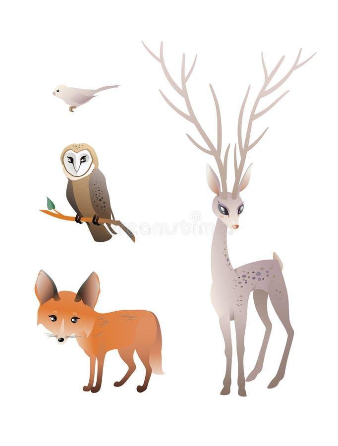 Bosdieren vectorreeks Herten, Rode Vos, Uil, Vogel royalty-vrije stock afbeeldingen