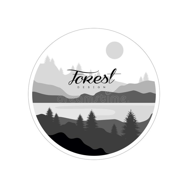 Bosembleemontwerp, mooi aardlandschap met binnen silhouetten van bomen, bergen en rivier, natuurlijk scènepictogram royalty-vrije illustratie