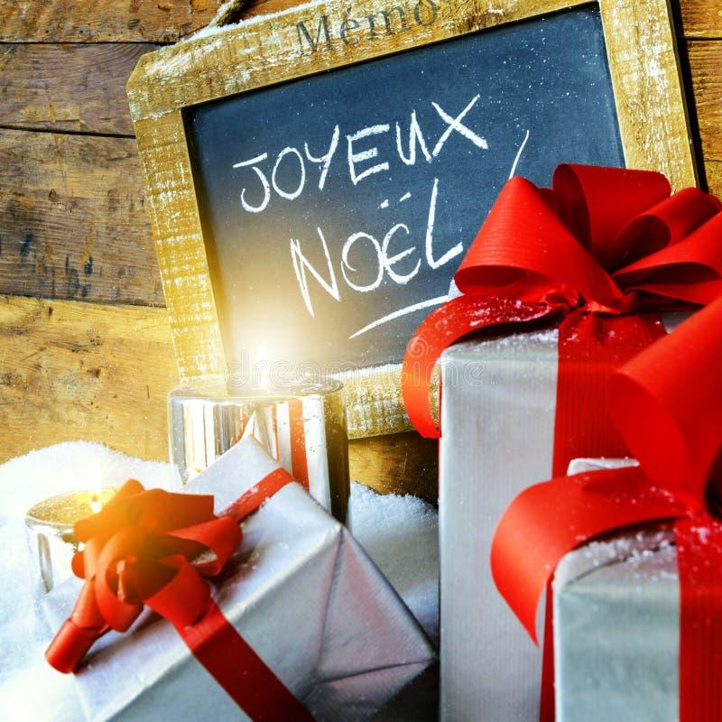 Boses y velas del regalo para la Navidad fotografía de archivo