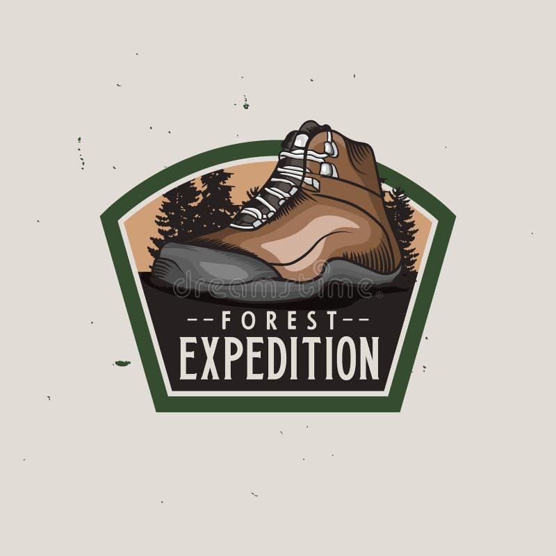Bosexpeditie uitstekende kleurrijke logotype met de schoen van de wandelingstrekking, uitstekend kenteken vector illustratie