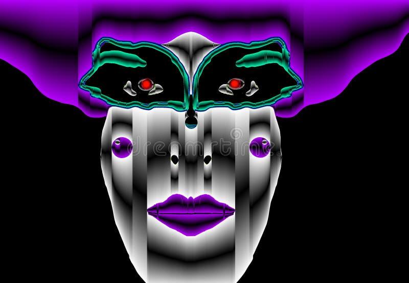 Boshafter kybernetischer purpurroter Clown stock abbildung