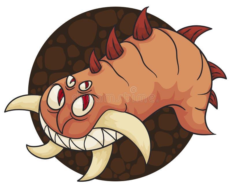 Boshafter Mutant-Wurm mit makaberem und kühlem Lächeln und den Stoßzähnen, Vektor-Illustration stock abbildung