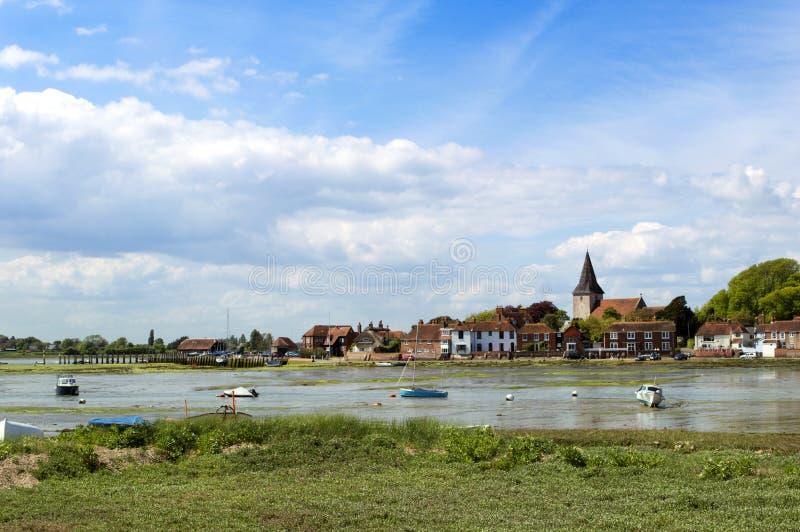 Bosham在与浪潮的5月,西萨塞克斯郡,英国 免版税库存图片