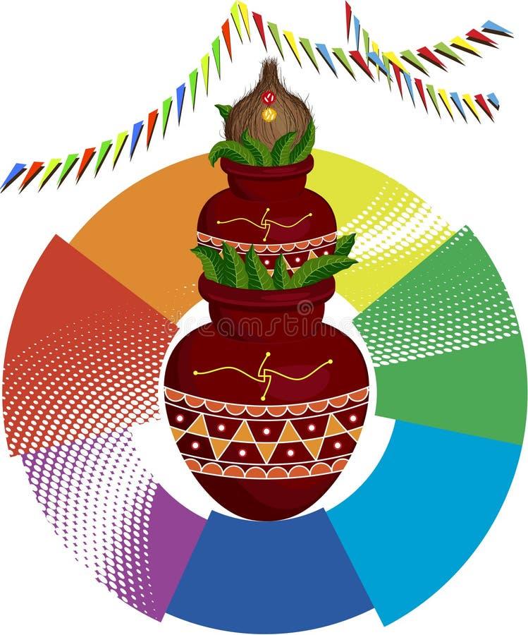 Boski Mangal Kalash i koks ilustracja wektor