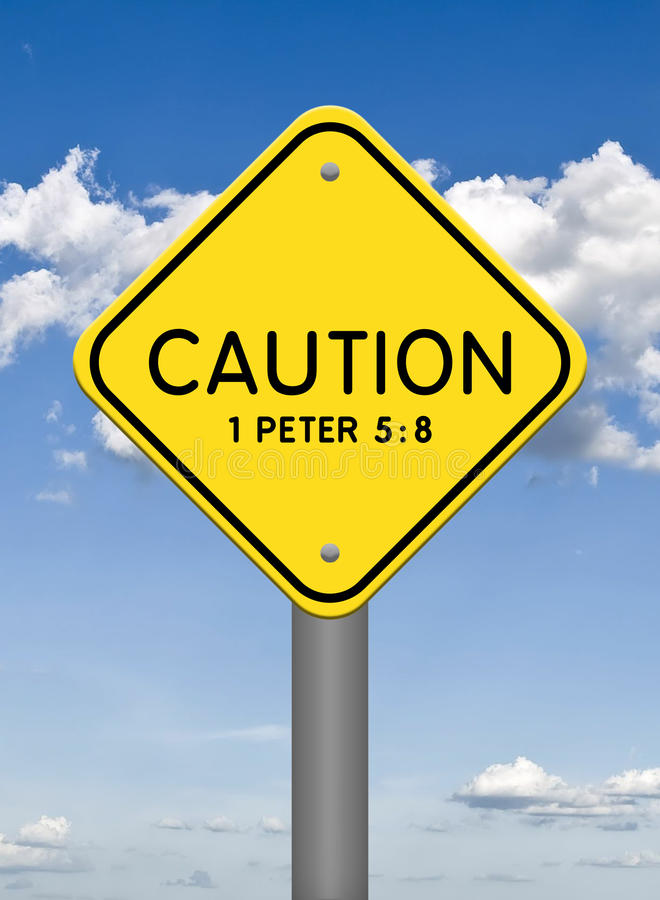 Boski znak, ostrożność ilustracji